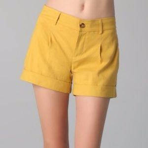 Vince Linen Blend Mustard Yellow Shorts